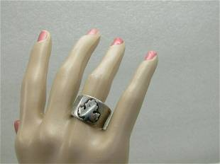 Vintage Sterling Silver Maple Leaf Band Ring, Sz. 9.75,