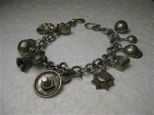 "Vintage Silver Cowboy/Tex-Mex Charm Bracelet, 7.5"", 13"