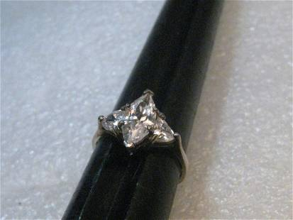 Sterling Silver Marquise Clear Ring, size 8.5, signed