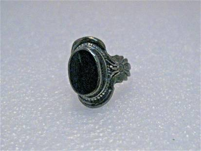 Vintage Sterling Onyx Ring, Butterfly Accents, Size