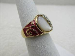 Sterling Red Mother-of-Pearl Goldwashed Ring, CZ