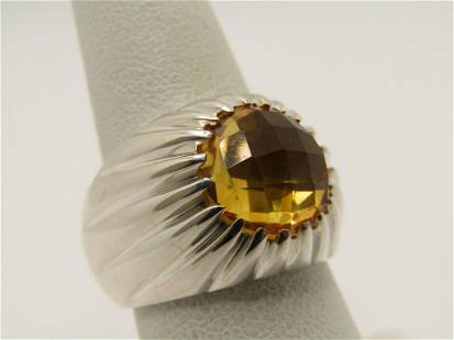 Sterling Silver Citrine Hand-Made Ring, Sz. 7.25, 3 CTW
