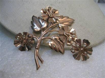 Vintage Sterling Copper Floral Brooch, Matching