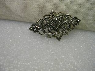Vintage Sterling Silver Marcasite Art Deco Style