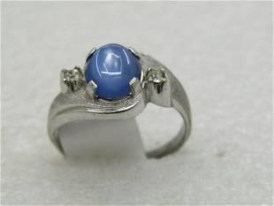 Vintage Sterling Faux Blue Moonstone Men's Ring, Sz.