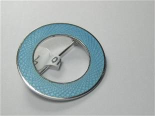 Vintage Sterling Aqua Guilloche Circle Brooch, 1960's
