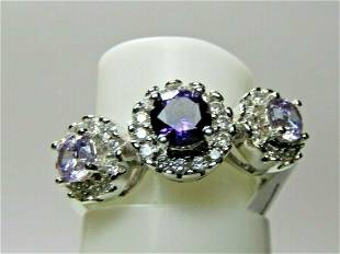 Sterling Silver Purple CZ Halo Ring Three Stones Size 7