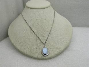 """Sterling Silver Blue Moonstone Necklace, 22"""", Curb Link"""