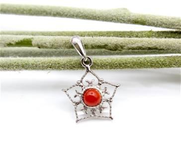 Floral Shape Pendant, Sterling Silver 925,