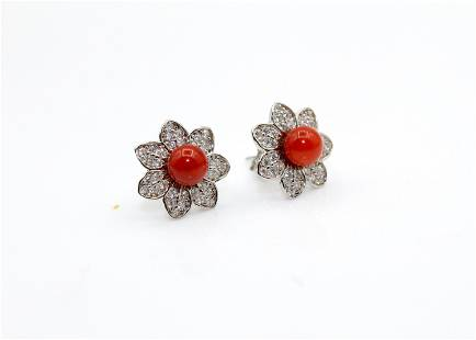 Floral shape Red Coral Earrings, Silver 925 Earring,