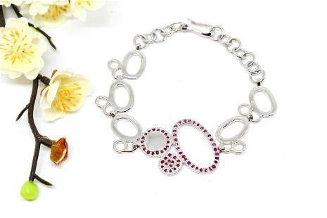 Natural Ruby Bracelet , Sterling Silver 925, Gemstone