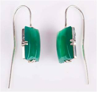 Green Chrysoprase Drop Earrings