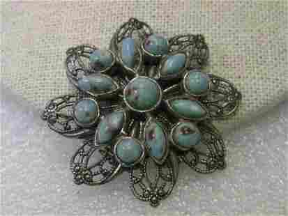 Vintage Art Deco Brooch, Silver tone Filigree Blue