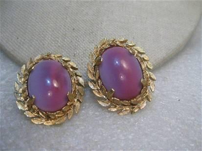 Vintage Pink Moonstone Clip Earrings, signed Judy Lee,