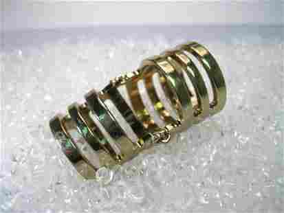 Vintage Gold Tone Hinged Full Finger Ring, Gold Bands