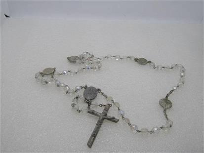 """Vintage Italian Crystal Rosary, Aurora Borealis, 23.5"""","""