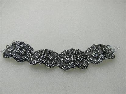"""Vintage Faux Marcasite Floral Bracelet, Aluminum, 8"""","""