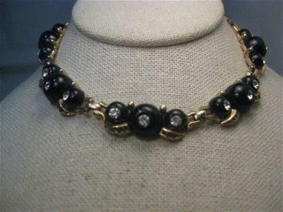 "Vintage Black Art Deco Rhinestone Necklace Choker, 14"","
