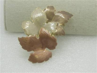 "Vintage Enameled Fall Leaves Brooch 3"", Gold Tone,"