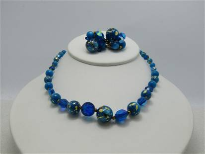 Vintage Aqua Foiled Moonglow Beaded Necklace & Clip