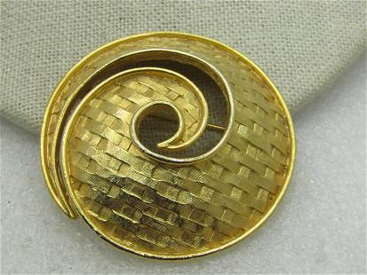 Vintage Mod Woven Spiral Brooch, Gold Tone, 1960's