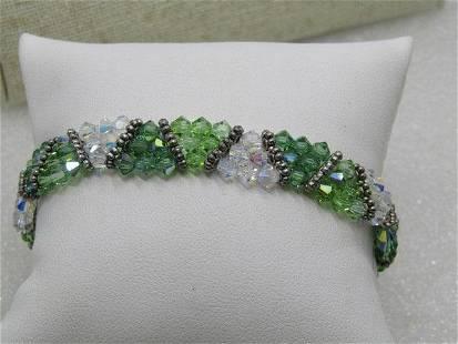 Swarovski Crystal Beaded Bracelet, Green & Clear,