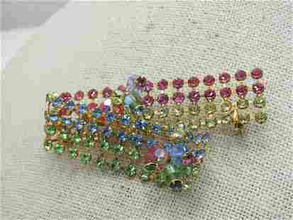 Vintage Rhinestone Curled Ribbon Brooch, Pastel