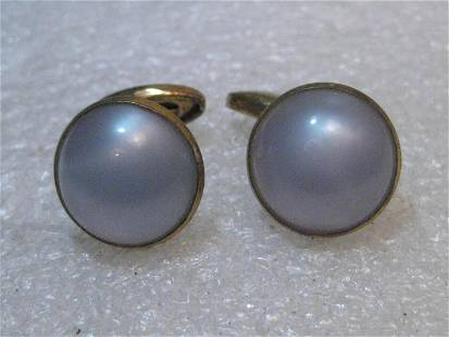 Vintage Blue Moonglow Cuff Links, 1940's/1950's Round -