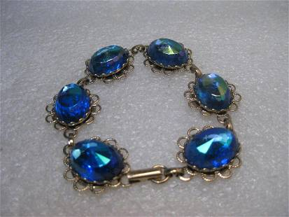 Vintage Filigree Blue Rhinestone Bracelet, Aurora