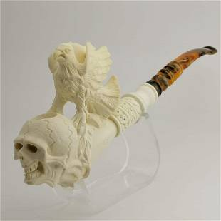 Skull Eagle and Dragon Meerschaum Pipe