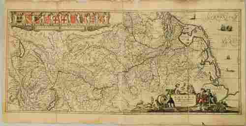 1636 Jansson Map of the Course of the Rhine River