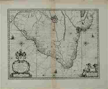 1650 Blaeu Map of Brazil -- Brasilia