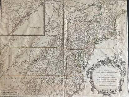 American colonies, 1755-1768, by R. Vaugondy. Paris