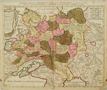 1700 Schenk Map of Russian Empire -- La Russie Blanche