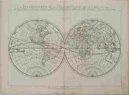 1652 Sanson Map of the World -- L'Hydrographie ou