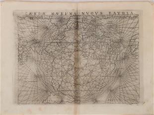 1574 Ruscelli World Mariner's Map - Carta Marina Nuova