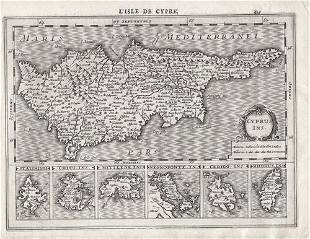 1630 Mercator Map of Cyprus and Other Islands -- Cyprus
