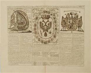 1714 Chatelain Map of Moscow with Coats of Arms --