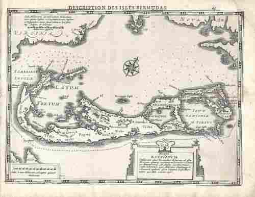 1630 Mecator Map of Bermuda -- Mappa Aestivarum