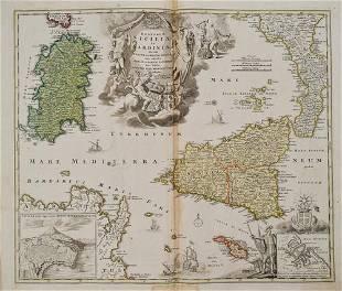 1720 Homann Map of Sicily, Malta and Sardinia --
