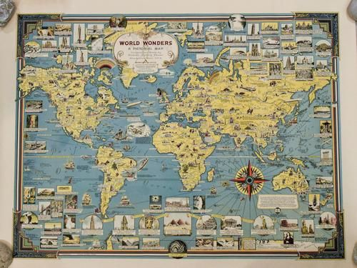 1939 Chase Pictorial Map of World's Wonders -- World