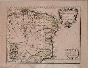 1719 de Fer Map of Brazil -- Le Bresil dont les Cotes