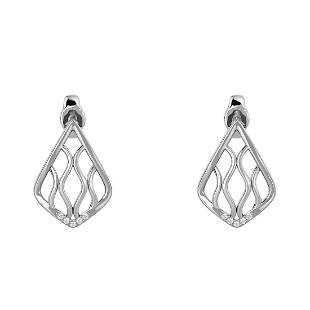 0.03 Ct Round White Diamond 18K Gold Earrings For Women