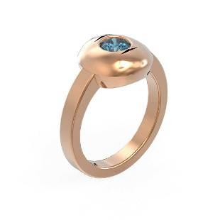 0.52 ctw Intense Blue Diamond Ring 18K Rose Gold -