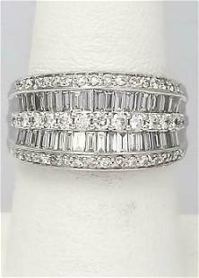 14k WHITE GOLD PAVE CHANNEL SET 2ct BAGUETTE ROUND