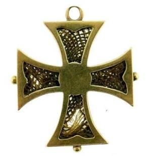 14k Yellow Gold Maltese Mourning Cross