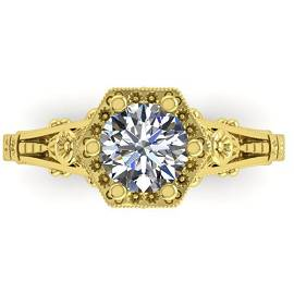 1 ctw Solitaire Certified VS/SI Diamond Ring 18k Yellow
