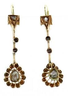14k Rose Gold Victorian Diamond Earring c.1870
