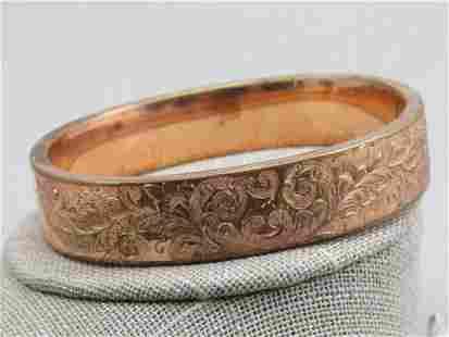 """Victorian 14kt G.F. Etched Hinged Bracelet, 7/75"""","""