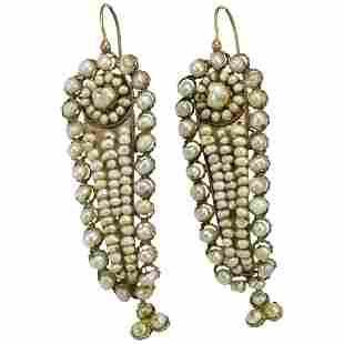 Victorian pearls 14K gold earrings